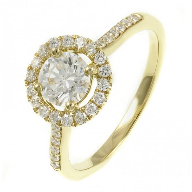 18ct yellow gold 0.72ct D SI1 EGL diamond halo ring.