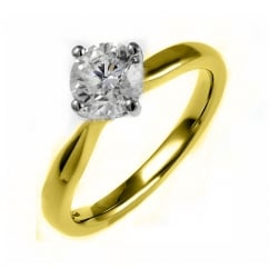 18ct yellow gold 0.72ct D SI1 EGL round brilliant diamond ring.