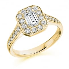 18ct yellow gold 0.72ct E VVS2 IGI emerald cut diamond halo ring