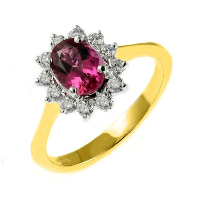 18ct yellow gold 0.72ct pink tourmaline & 0.34ct diamond ring.