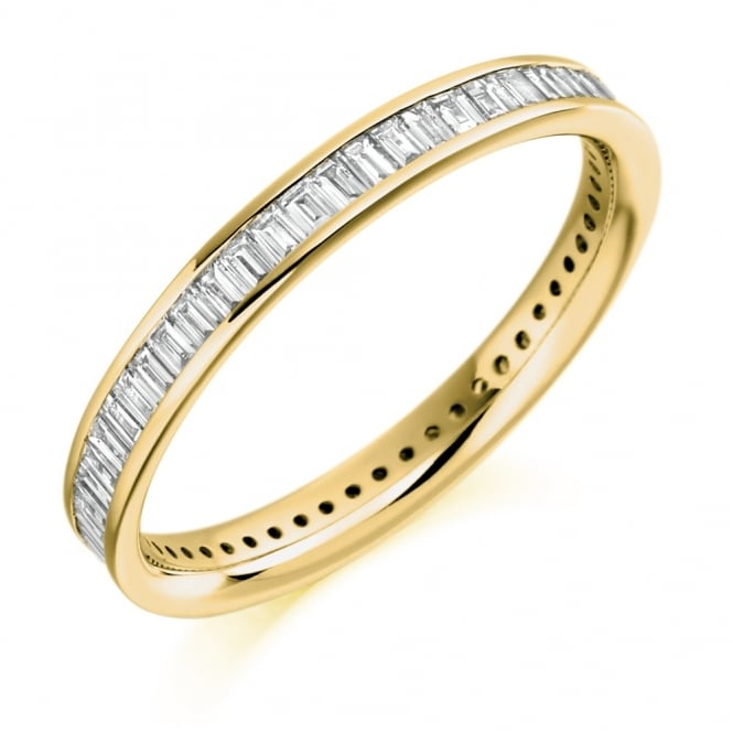 18ct yellow gold 0.75ct baguette cut diamond full eternity ring.