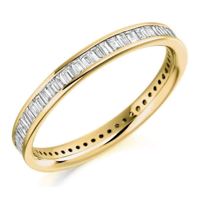 The Raphael Collection 18ct yellow gold 0.75ct baguette cut diamond full eternity ring.