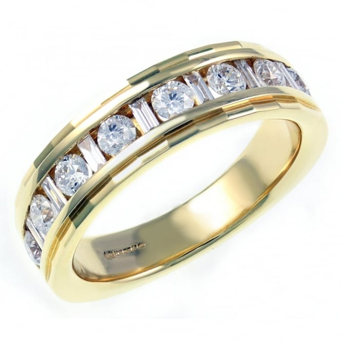 18ct yellow gold 0.75ct combi cut diamond half eternity ring.