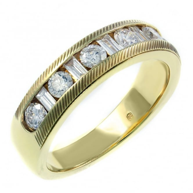 18ct yellow gold 0.75ct combination cut diamond eternity ring.