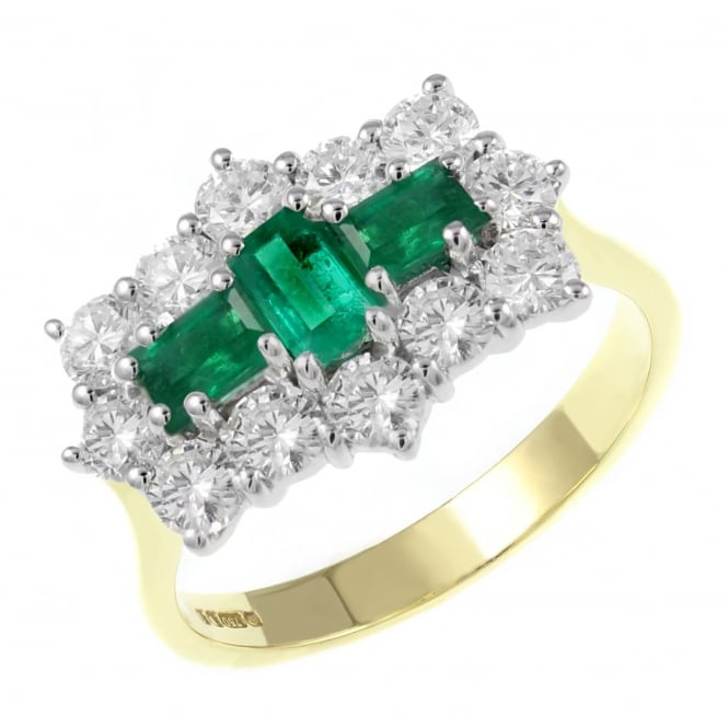 18ct yellow gold 0.75ct emerald & 1.25ct diamond cluster ring.
