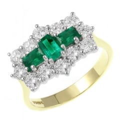 18ct yellow gold 0.75ct emerald & 1.25ct diamond cluster ring