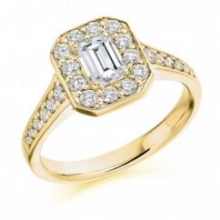 18ct yellow gold 0.75ct H VS2 IGI emerald cut diamond halo ring.