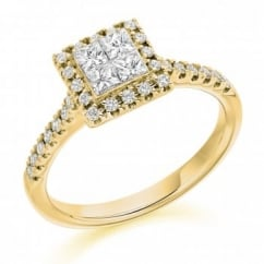 18ct yellow gold 0.75ct invisible princess cut diamond ring.