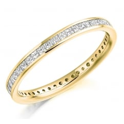 18ct yellow gold 0.75ct princess cut diamond full eternity ring.