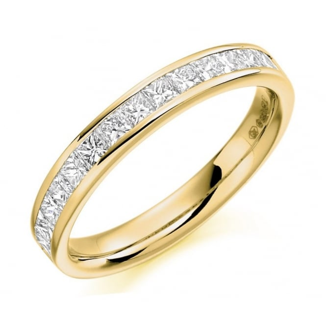 The Raphael Collection 18ct yellow gold 0.75ct princess cut diamond half eternity ring.