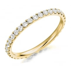 18ct yellow gold 0.75ct round brill diamond full eternity ring.