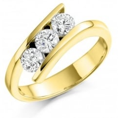 18ct yellow gold 0.75ct round brill diamond trilogy twist ring.