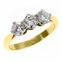 18ct yellow gold 0.75ct round brilliant diamond 3 stone ring.