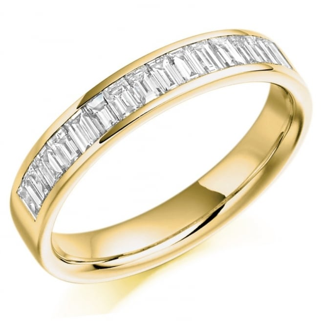 The Raphael Collection 18ct yellow gold 0.76ct baguette cut diamond half eternity ring.
