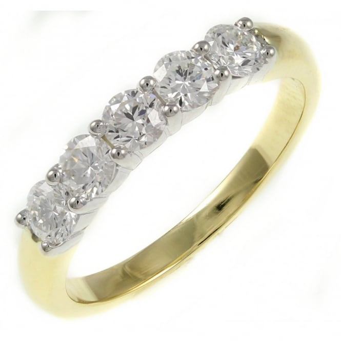 18ct yellow gold 0.80ct round brilliant cut 5 stone ring.