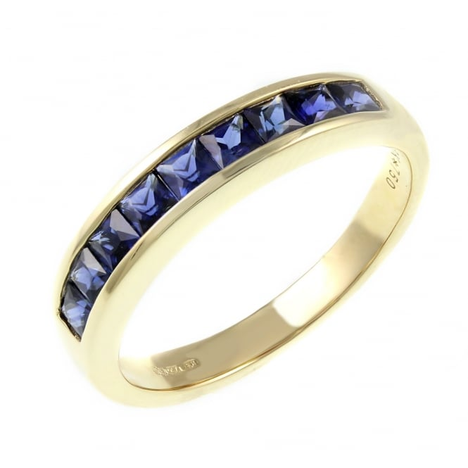 18ct yellow gold 0.81ct sapphire half eternity ring.