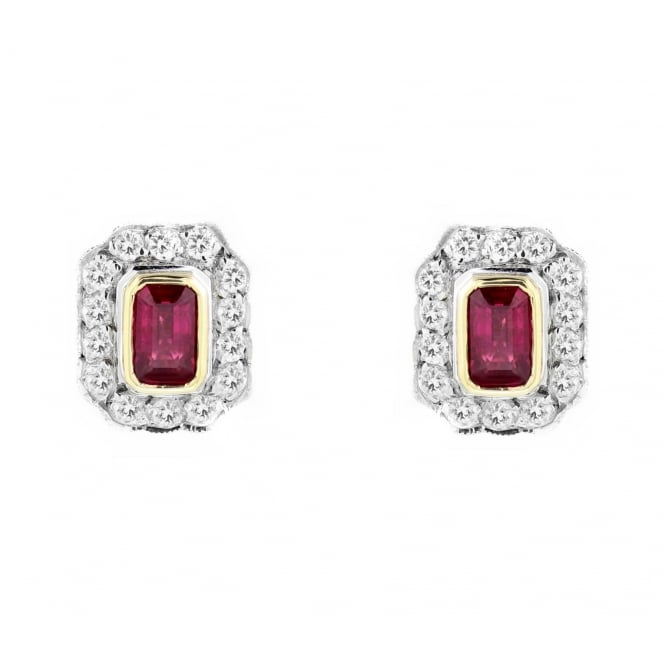 18ct yellow gold 0.82ct ruby & 0.38ct diamond cluster earrings