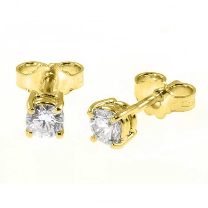 18ct yellow gold 0.83ct round brilliant cut diamond stud earring