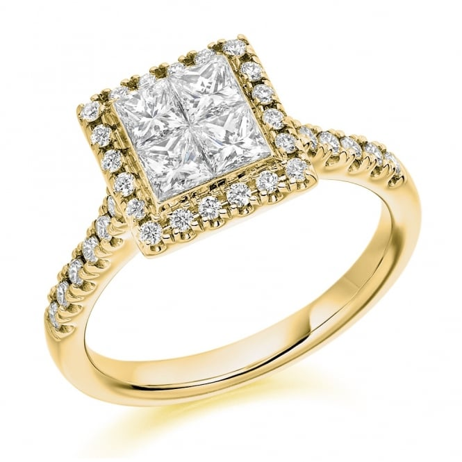 The Raphael Collection 18ct yellow gold 0.85ct invisible princess cut diamond ring.