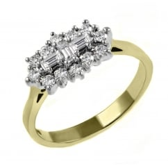 18ct yellow gold 0.87ct baguette diamond cluster ring.