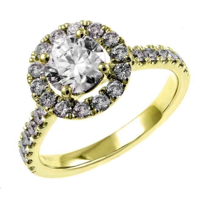 18ct yellow gold 0.87ct D SI1 EGL round diamond halo ring
