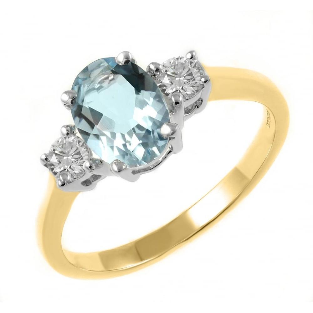 2008f0712d66e 18ct yellow gold 0.88ct aquamarine & 0.23ct diamond 3 stone ring