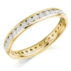 18ct yellow gold 0.88ct round brill diamond full eternity ring.