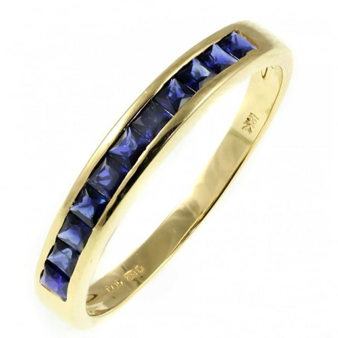 18ct yellow gold 0.90ct sapphire half eternity ring.