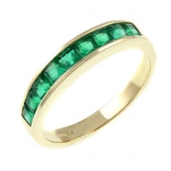 18ct yellow gold 0.92ct emerald half eternity ring.