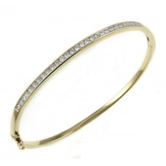 18ct yellow gold 0.92ct round brilliant cut diamond bangle.