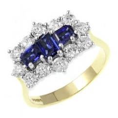 18ct yellow gold 0.96ct sapphire 1.25ct diamond cluster ring