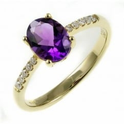 18ct yellow gold 0.98ct amethyst & 0.11ct diamond ring.