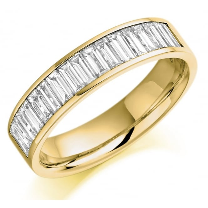 The Raphael Collection 18ct yellow gold 1.00ct baguette cut diamond half eternity ring.