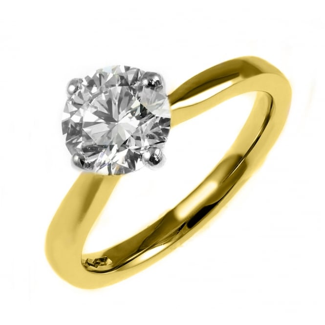 18ct yellow gold 1.00ct D SI1 EGL round brilliant diamond ring.
