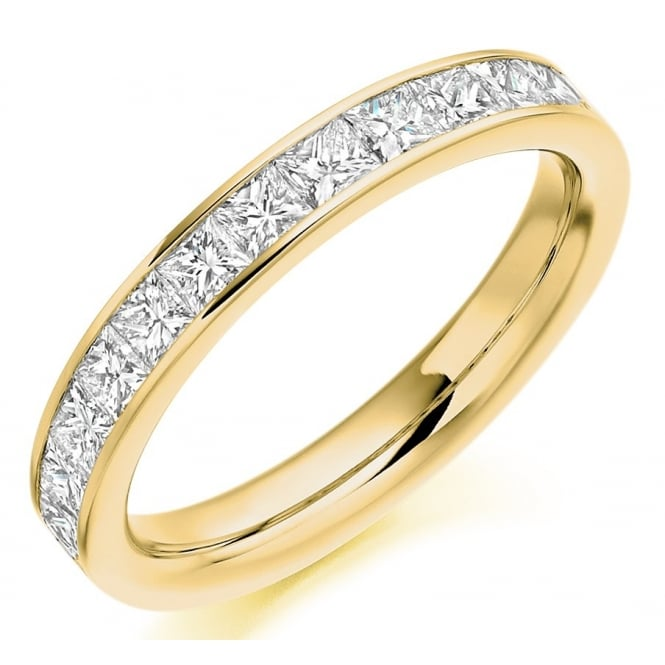 The Raphael Collection 18ct yellow gold 1.00ct princess cut diamond half eternity ring.