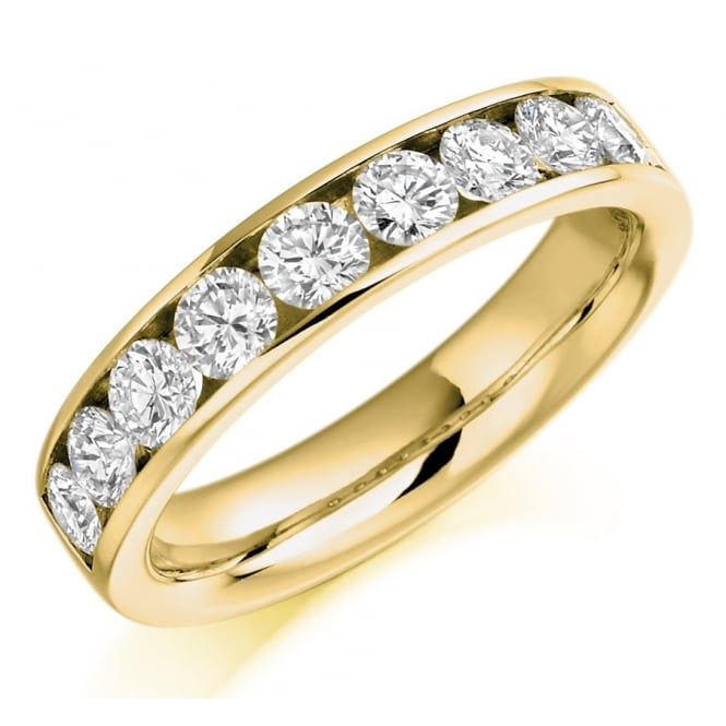 The Raphael Collection 18ct yellow gold 1.00ct round brill diamond half eternity ring.