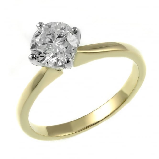 18ct yellow gold 1.00ct round brilliant diamond solitaire ring.