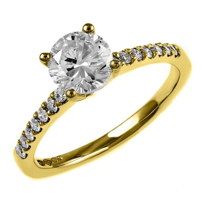 18ct yellow gold 1.01ct round brilliant diamond ring