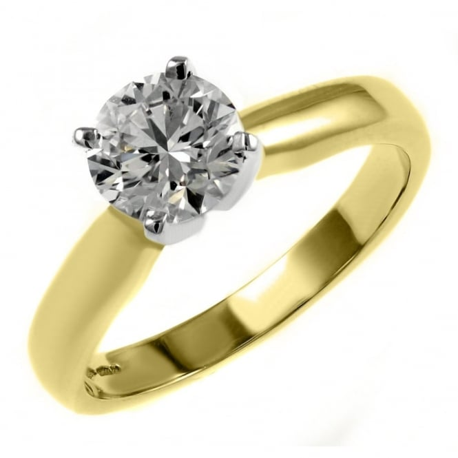 18ct yellow gold 1.02ct D SI1 EGL round brilliant diamond ring.