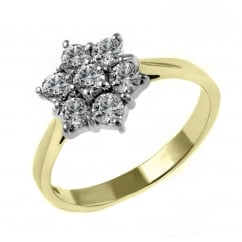 18ct yellow gold 1.02ct diamond flower cluster ring.