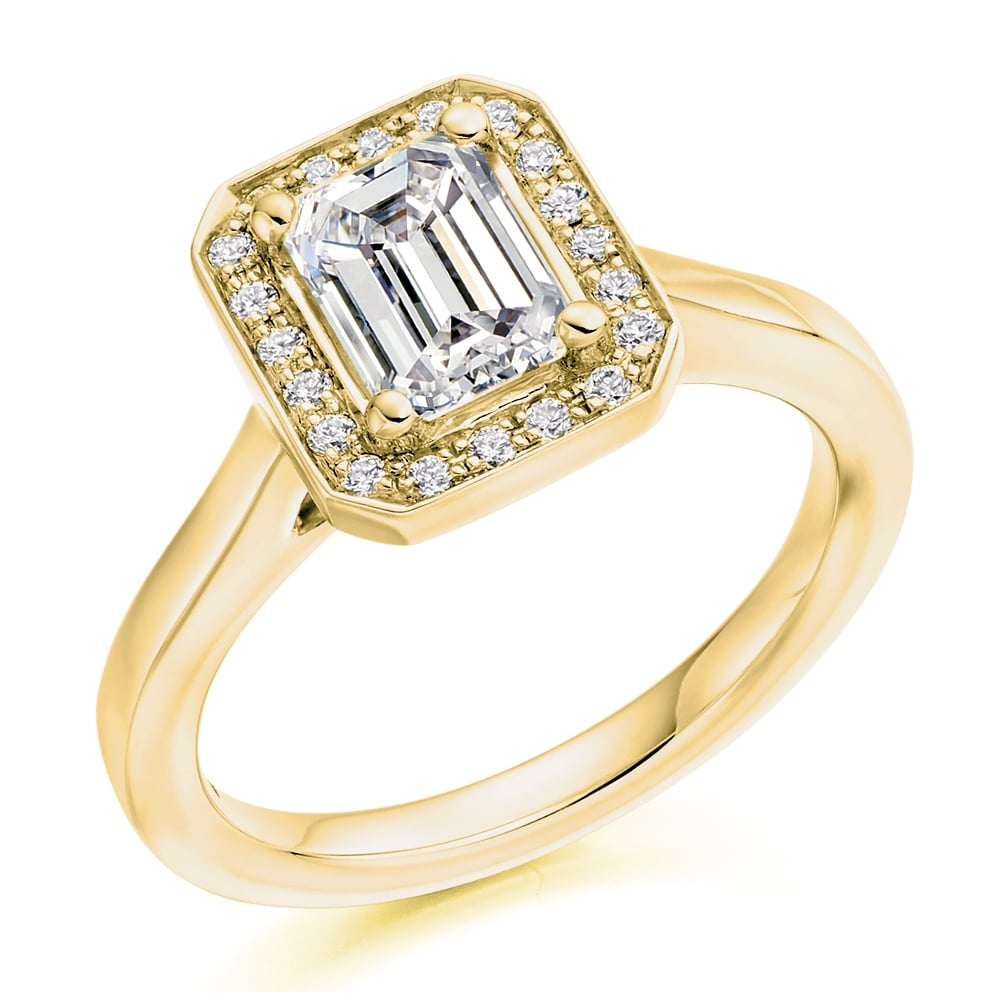 The Raphael Collection 18ct Yellow Gold 1 02ct F If Gia Emerald Cut Diamond Halo Ring Engagement From Mr Harold And Son Uk
