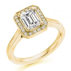 18ct yellow gold 1.02ct F IF GIA emerald cut diamond halo ring.
