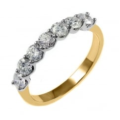 18ct yellow gold 1.02ct round brilliant diamond 7 stone ring.