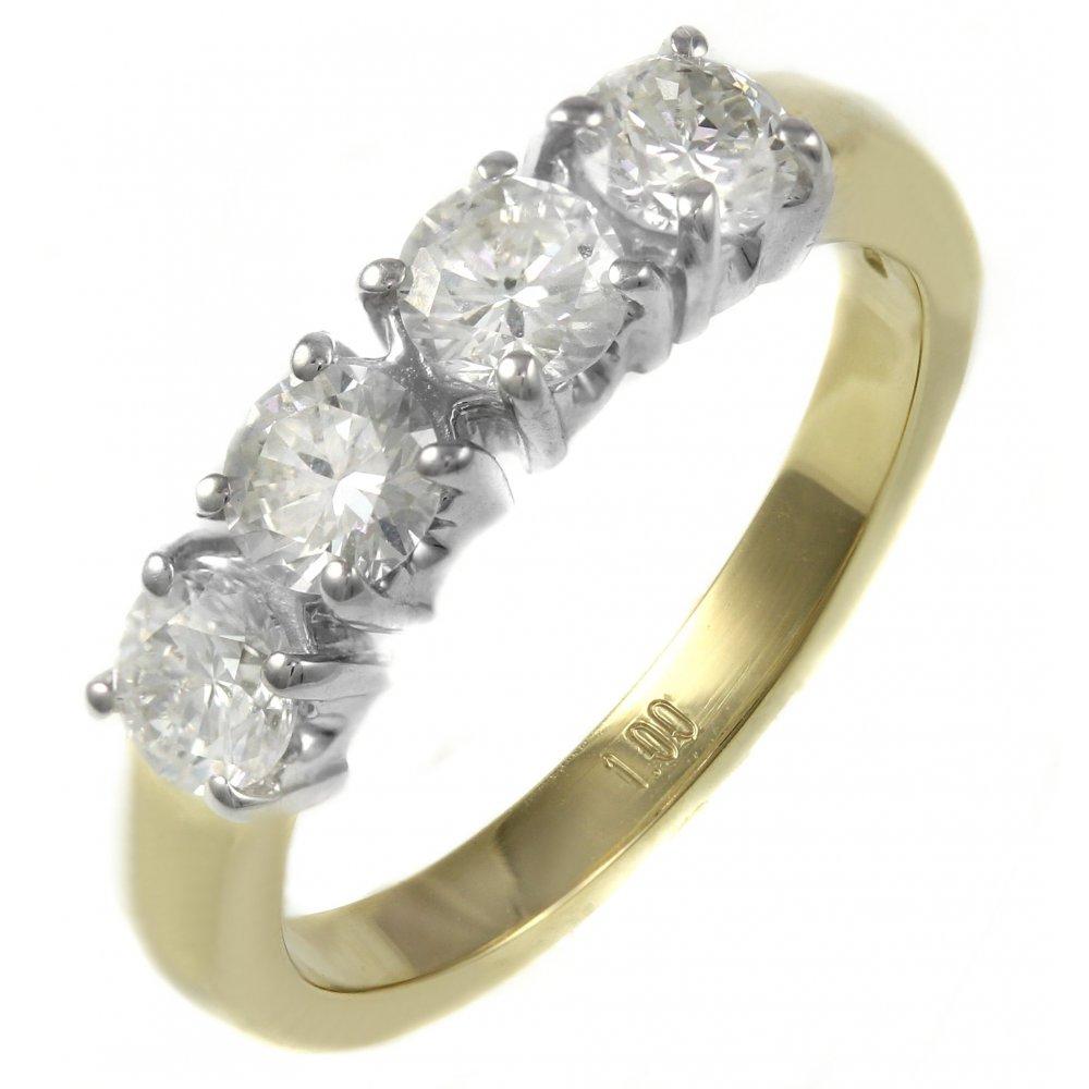 ec8e17b3b9117 18ct yellow gold 1.04ct round brilliant cut 4 stone diamond ring
