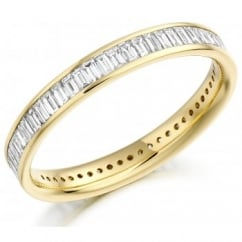 18ct yellow gold 1.05ct baguette cut diamond full eternity ring.