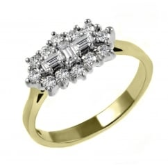 18ct yellow gold 1.05ct baguette diamond cluster ring.