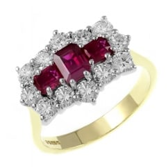 18ct yellow gold 1.05ct ruby & 1.25ct diamond cluster ring