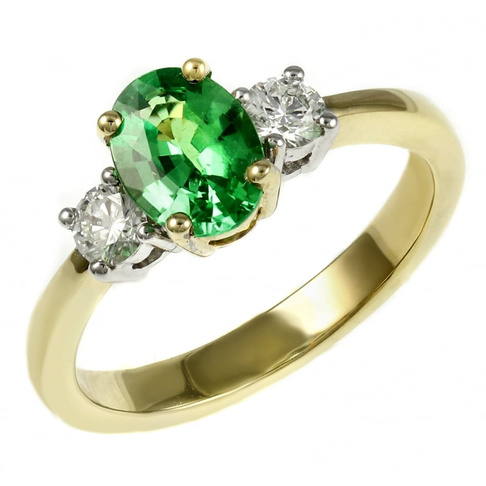 green ladies rings products gleaming gold ring tsavorite garnet