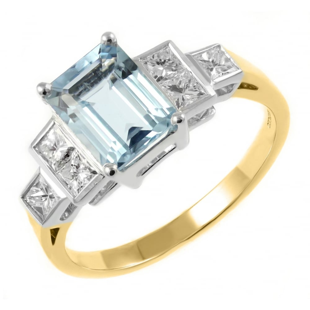 18ct yellow gold 1.07ct aquamarine & 0.22ct diamond ring ...