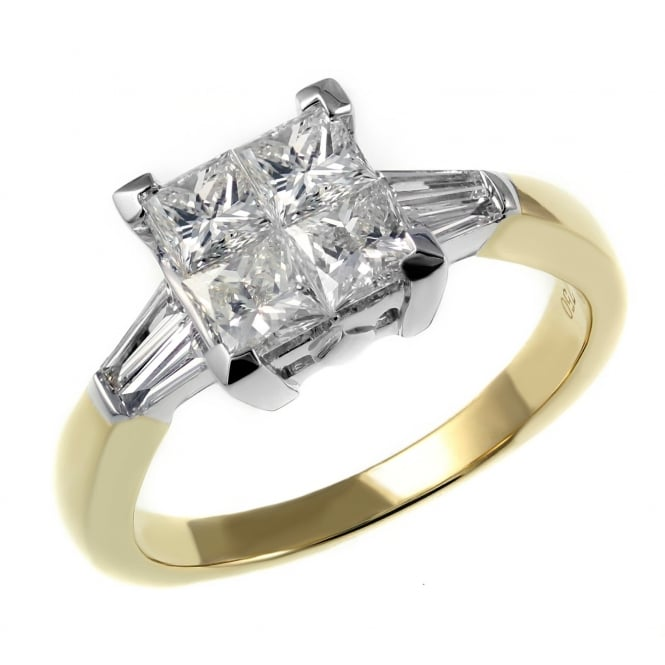 18ct yellow gold 1.07ct princess cut invisible set diamond ring.
